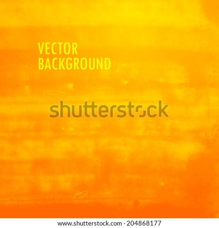 orange watercolor background. brushed ink texture. Abstract background for your design - stock vector