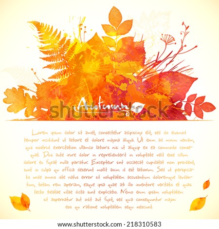 Orange watercolor painted leaves vector greeting card template - stock vector