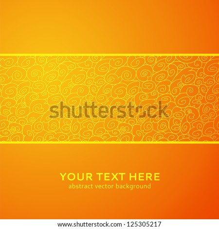 Orange wave horizontal ornamental background. Vector illustration for your business presentation. Easy to edit and change color. Symbolizes growth, sun, a stream and development. - stock vector
