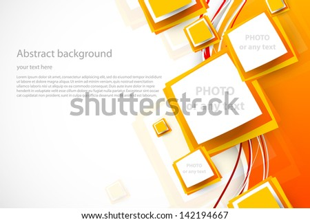 Orange wavy background with squares - stock vector