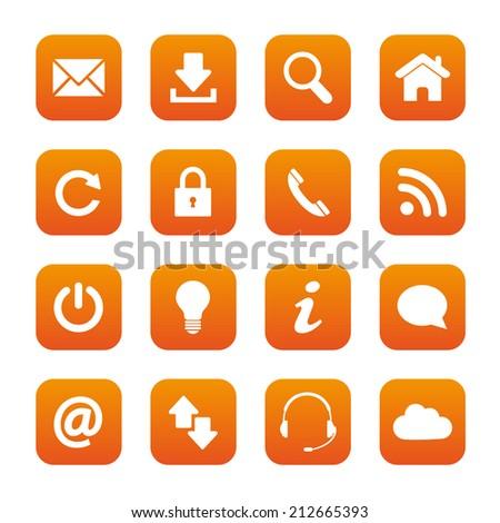 Orange web buttons - stock vector