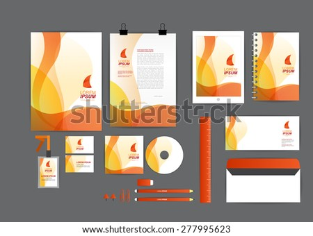orange with curve graphic corporate identity template  for your business includes CD Cover, Business Card, folder, ruler, Envelope and Letter Head Designs - stock vector