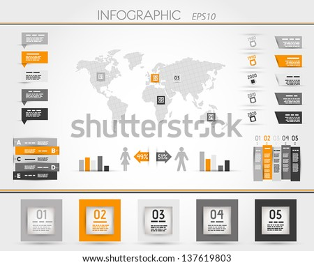orange world square infographic.  infographic concept - stock vector