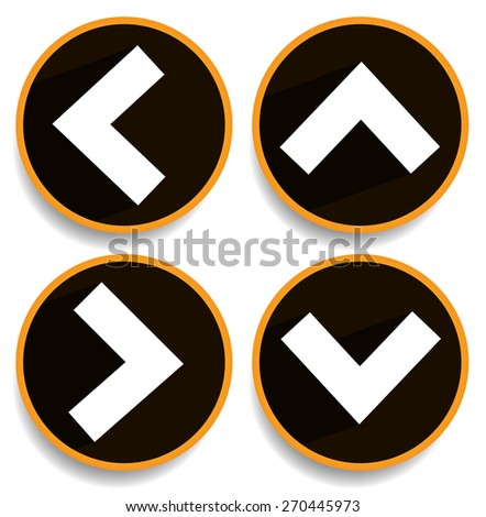 Orange, yellow arrows, arrowheads pointing up, down, left and right. Up, down, left right buttons, icons with arrows casting diagonal shadow - stock vector