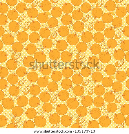 Oranges vector seamless pattern - stock vector