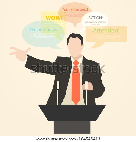 Orator stands behind a podium with microphones.  Speaker makes a report to the public. Presentation and performance before an audience. Policy. Art. Oration. Declamation. Holiday. Toast. Vector. Icon. - stock vector