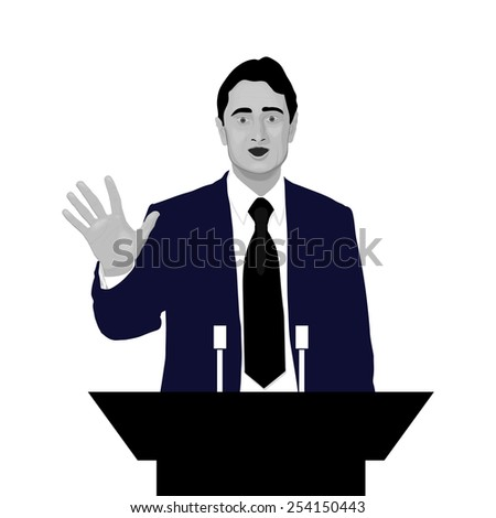 Orator with an open hand. Speaker makes a report to the public and the press. Eloquent speech before an audience. Rhetoric. Oratory, politician, businessman. Black and white. Vector. Icon. - stock vector