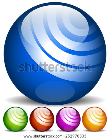 Orbs, spheres with texture. Blue, green, red and purple yellow colors. - stock vector
