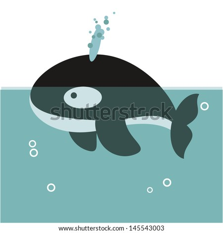 orca whale swimming in the ocean with water in the spiracle and bubbles. - stock vector