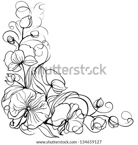 Orchid flower isolated over white. Vector illustration. - stock vector