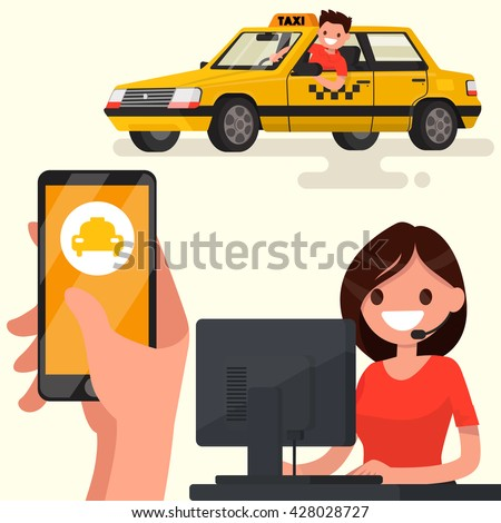 Order a taxi through the app on your phone. Vector illustration of a flat design - stock vector
