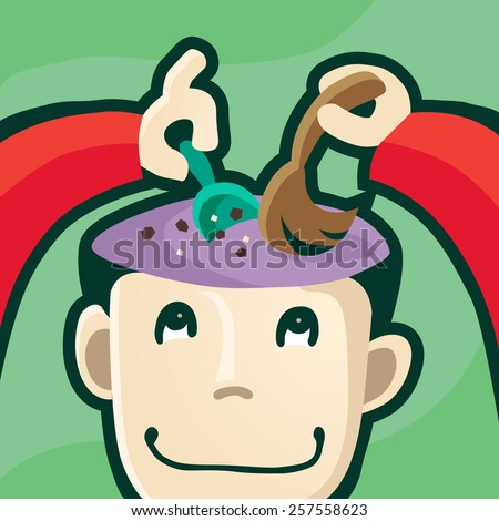 Order in the head, clear mind, purification of the mind, brainwashing. Vector illustration, EPS 10, no transparency, no meshes.  - stock vector