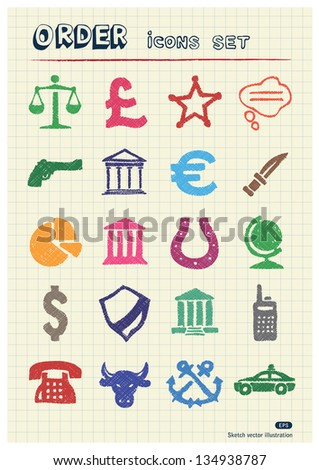 Order, law and heraldic web icons set drawn by color pencils. Hand drawn vector elements pack isolated on paper - stock vector