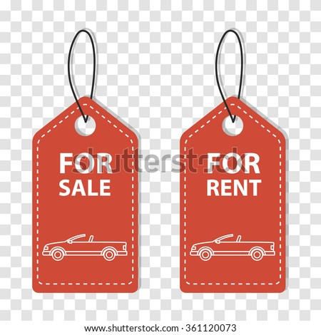 Order rent car, Rental services, Hire transport. Vector Label of Hire Car. Rent a car label. Sale car label. Two red label about rental car. Simple sale tag. Sticker - for rent. Sticker - for sale. - stock vector