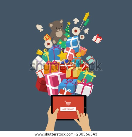 Ordering christmas gifts online - man hands holding tablet mobile device with add to cart button - online shopping concept - stock vector