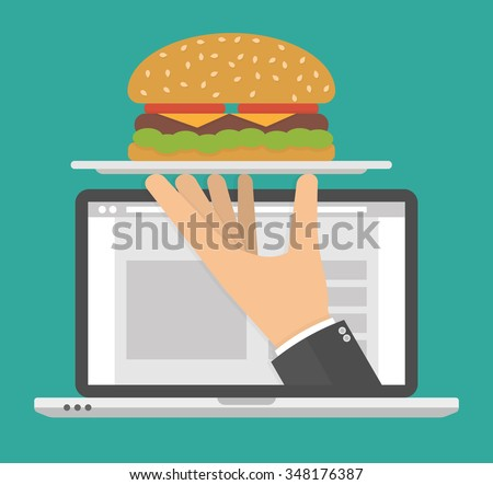 Ordering food online concept. Hand holding silver serving tray with a big hamburger  on it on a laptop display. Flat style - stock vector