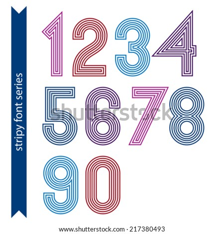 Ordinary geometric numbers created from parallel straight lines. Graphic vector stylish numeration, poster digit sequence. - stock vector