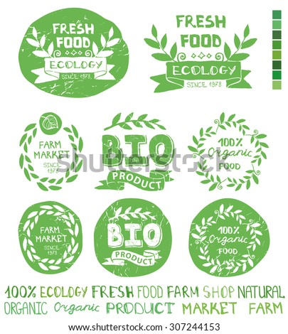 Organic,bio,ecology natural  logotypes set.Green logo,grunge Badges, labels,ribbons,plants elements,wreaths and laurels,letters and text.Hand drawing painting design template.Vintage vector - stock vector
