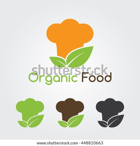 Organic cooking symbols. Restaurant logo template with food and chef hat silhouettes icon. Vector collection set for Organic natural food flat design.  - stock vector