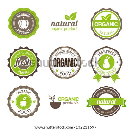 Organic Eco Badges - stock vector