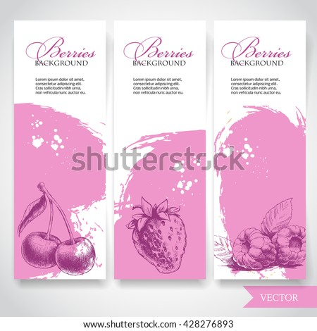 Organic eco berries banners. Hand drawn berries. Cherry, strawberry and raspberry on rough pink watercolor background with white splashes. Vector berries illustration. - stock vector