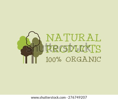 Organic eco green logo template. Can be used as Vintage ecology poster, banner and background. Retro grunge design. Vector illustration - stock vector