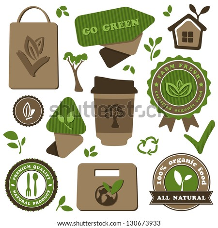 organic food and eco friendly theme vector set - stock vector
