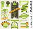Organic food banners. Set of labels and stickers. - stock vector