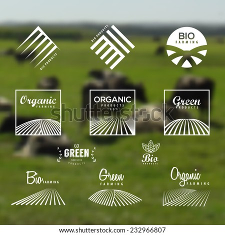 Organic food, eco, bio farming, green labels and icons set. Blurry background of an Agriculture field landscape. Vector Organic products design.  - stock vector