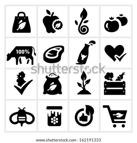 Organic Food Icons, Farm products and Healthy natural none chemical food - stock vector