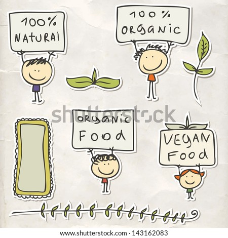 Organic food labels with kids - stock vector