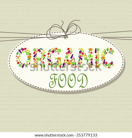 Organic food - logo with vegetables on nature background - stock vector