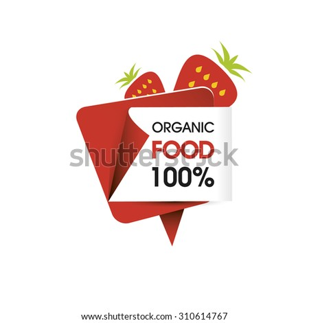 Organic food strawberry - stock vector