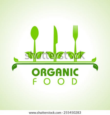 Organic food with kitchen utensils concept stock vector  - stock vector