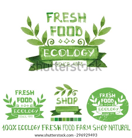 Organic fresh food,bio,ecology natural  logotypes set.Green Watercolor logo Badges with branch,ribbon,  plants elements ,letters and text.Hand drawing painting design template.Vintage vector - stock vector