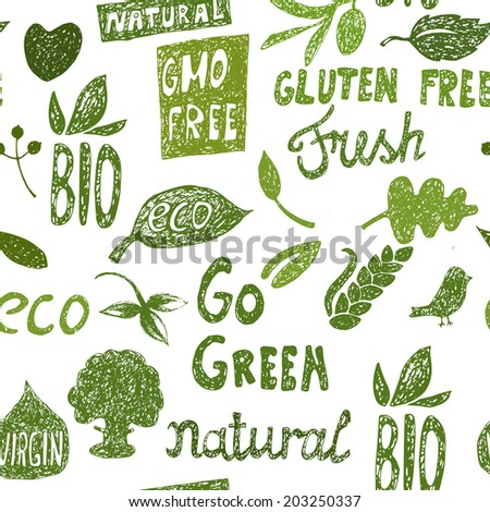 Organic hand drawn vector seamless pattern. Food labels and elements. Eps10 - stock vector
