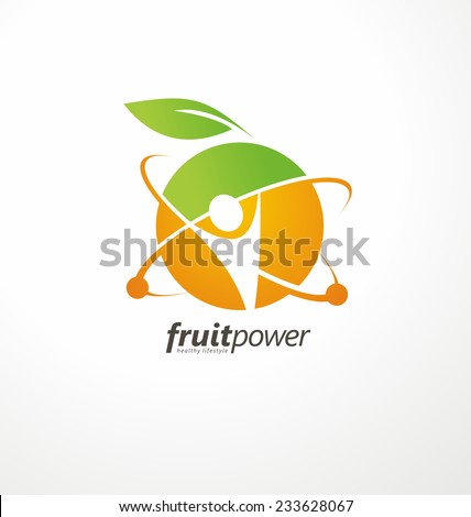 Organic Health Food vector logo concept. Nutrition and Diet unique symbol design. Green Healthy Life creative icon. Fruit and vegetable sign template. - stock vector