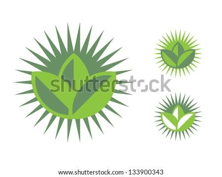 Organic Icon with Sun Backdrop. - stock vector