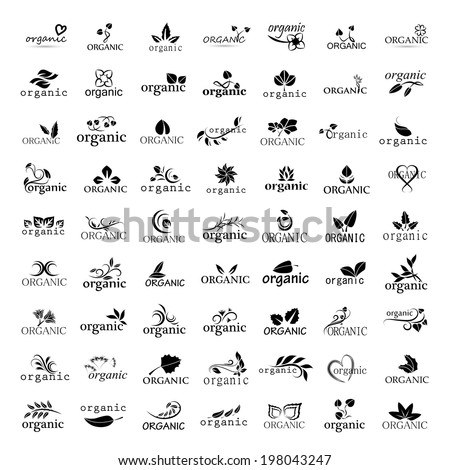Organic Icons Set - Isolated On White Background - Vector Illustration, Graphic Design Editable For Your Design - stock vector