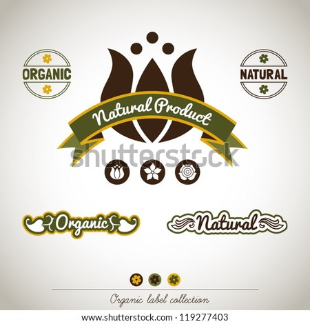 Organic Label Collection - stock vector