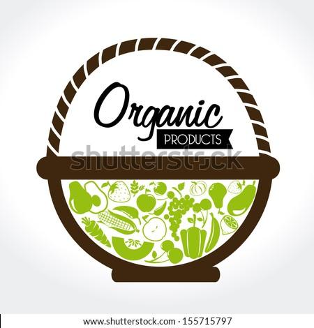 organic label over white background vector illustration - stock vector