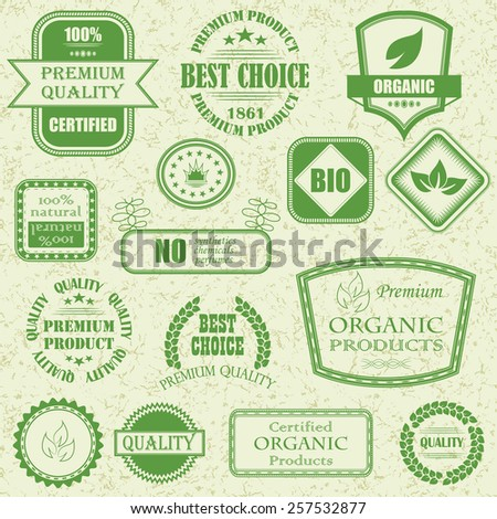 Organic labels and elements. Natural organic product labels, emblems and badges. Vector set of design elements        - stock vector