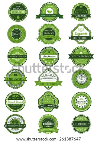Organic or natural product labels and banners with green and white design element - stock vector