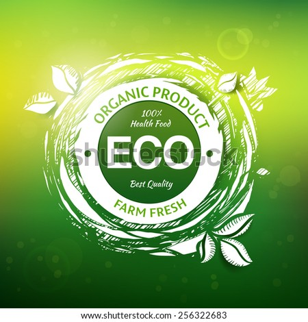 Organic product drawing stamp design. Eco friendly food logo. Fresh farm vector label. - stock vector