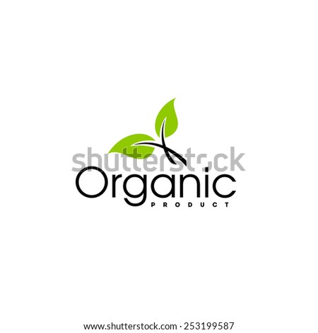 Organic product logo design vector template. Leaf icon - stock vector