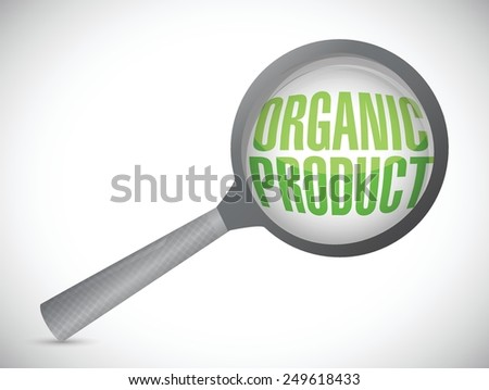 organic product magnify glass illustration design over a white background - stock vector