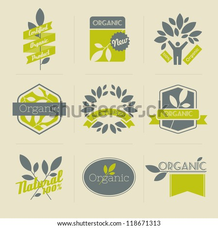 Organic retro labels, badges and other design elements with leaves. Vector illustration. - stock vector