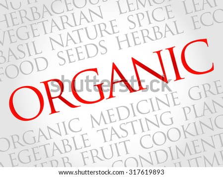 ORGANIC word cloud, health concept - stock vector