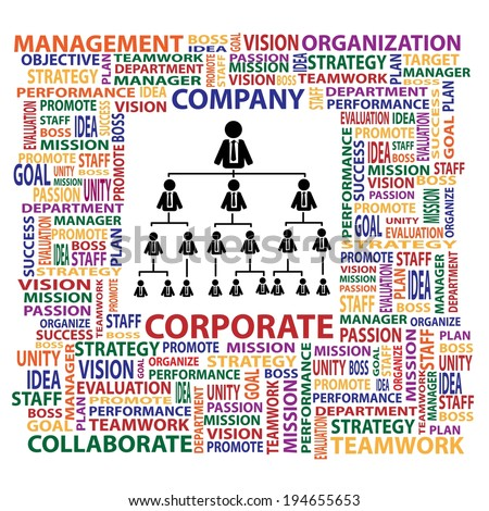Organization and corporate structure in company for business concept - stock vector