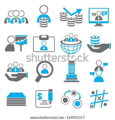 organization and human resource management icons, business icons - stock vector